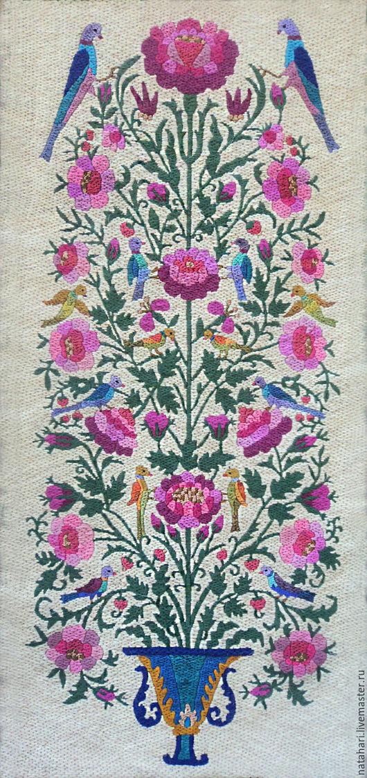 Картины цветов ручной работы. Ярмарка Мастеров - ручная работа. Купить Вышивка  - Райские птички. Handmade. Панно на стену