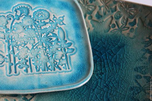 """Тарелки ручной работы. Ярмарка Мастеров - ручная работа. Купить """"Бабочки-цветочки"""" Набор тарелок. Handmade. Бирюзовый, валентина фадеева"""