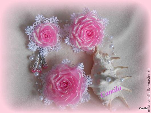 """Детская бижутерия ручной работы. Ярмарка Мастеров - ручная работа. Купить Комплект """"Розетта"""". Handmade. Розовый, резинка с цветком, брошь"""