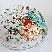 Посуда ручной работы. Ярмарка Мастеров - ручная работа Тортница подставка для торта с крышкой, роспись по стеклу. Handmade.