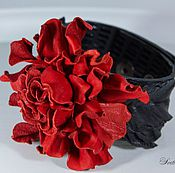 Украшения handmade. Livemaster - original item A leather bracelet rose Red. Leather bracelet.. Handmade.