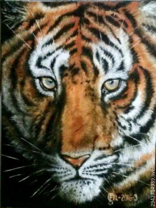 """Животные ручной работы. Ярмарка Мастеров - ручная работа. Купить Картина """"Тигр"""". Handmade. Рыжий, глаза тигра"""