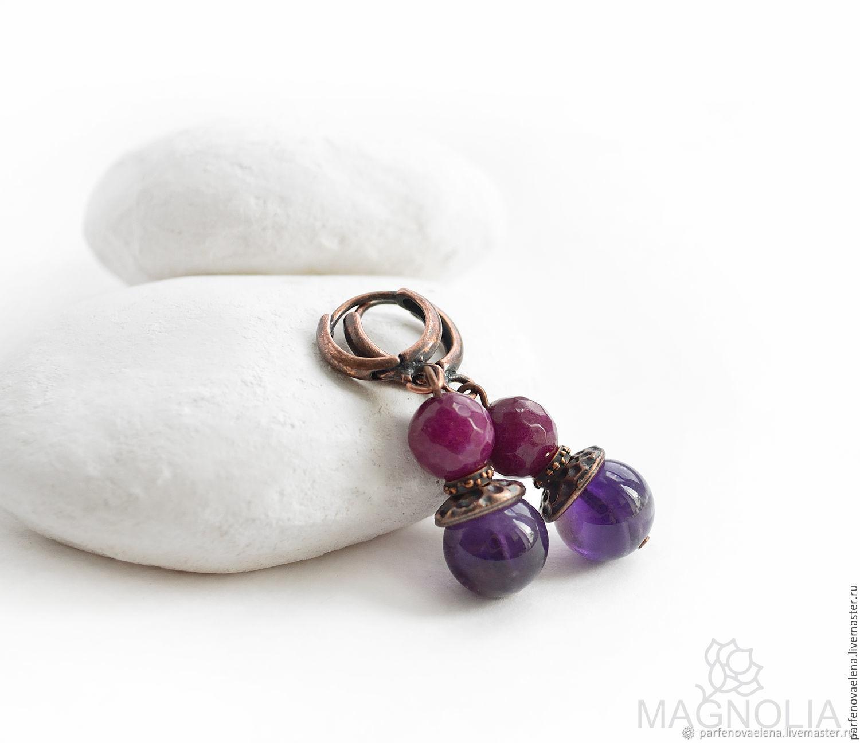 Earrings with amethyst 'joy', Earrings, Omsk,  Фото №1