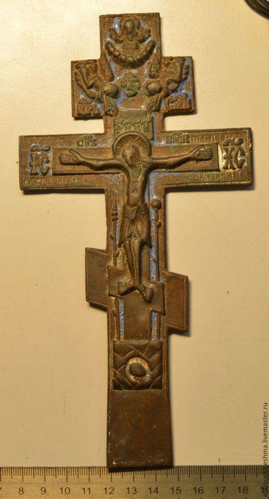 Винтажные предметы интерьера. Ярмарка Мастеров - ручная работа. Купить Крест Распятие Христово 18 век киотный эмаль с молитвой. Handmade.