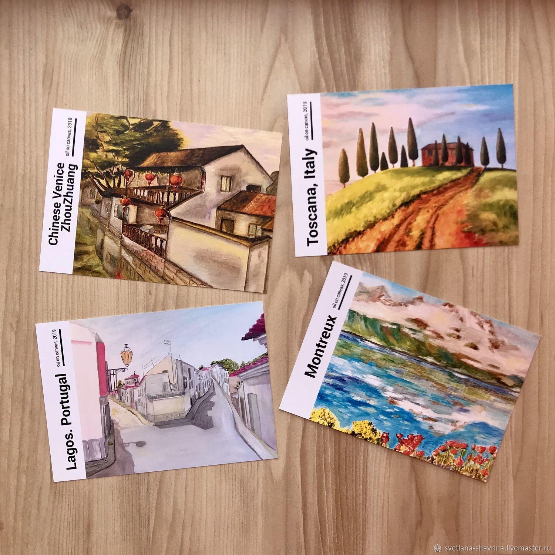 Набор из 8 авторских открыток с принтом работ м/х, поп арт, Открытки, Москва,  Фото №1