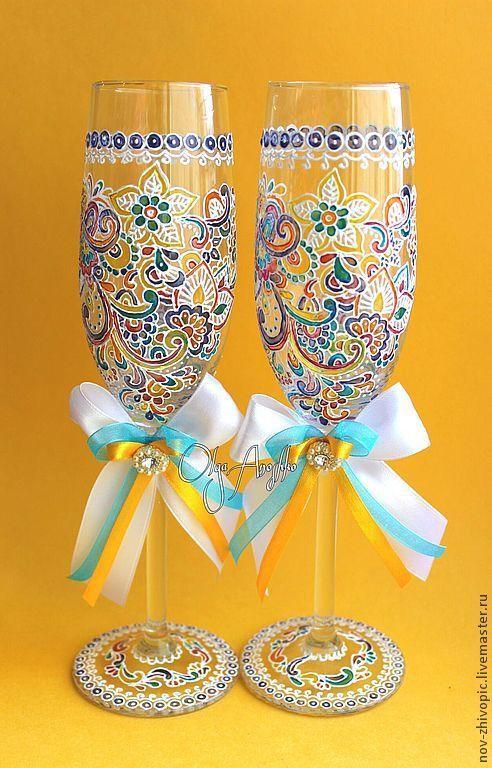 """Свадебные аксессуары ручной работы. Ярмарка Мастеров - ручная работа. Купить Свадебные бокалы """"Прихоть Невесты"""". Роспись по стеклу. Handmade."""