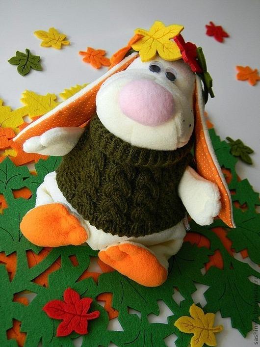 """Игрушки животные, ручной работы. Ярмарка Мастеров - ручная работа. Купить Мягкая игрушка Зайчик """"Осенний"""". Handmade. Белый, игрушка"""
