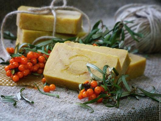 """Мыло ручной работы. Ярмарка Мастеров - ручная работа. Купить Мыло """"Облепиховый мед"""" натуральное с нуля. Handmade. Желтый"""