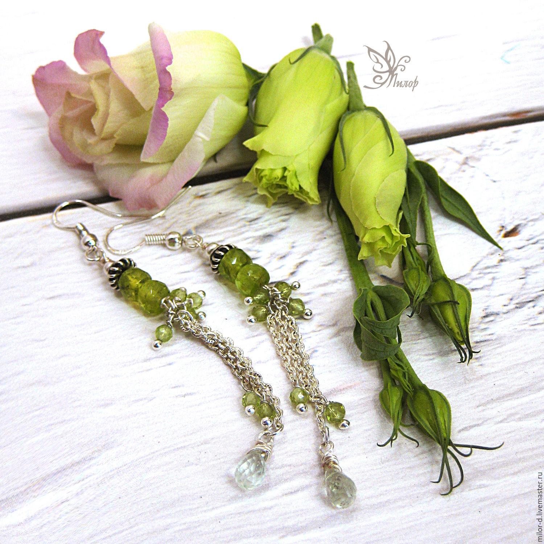 """Серьги ручной работы. Ярмарка Мастеров - ручная работа. Купить Серьги """"Весна"""". Хризолит,  серебро, аквамарин. Handmade. Весна, для невесты"""