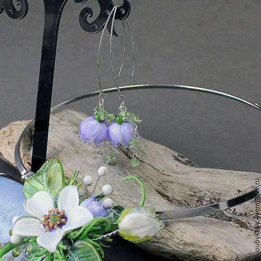 Серьги Лэмпворк нежно сиреневый Серьги сделаны для колье нежное на агате Можно купить как отдельно, так и к колье