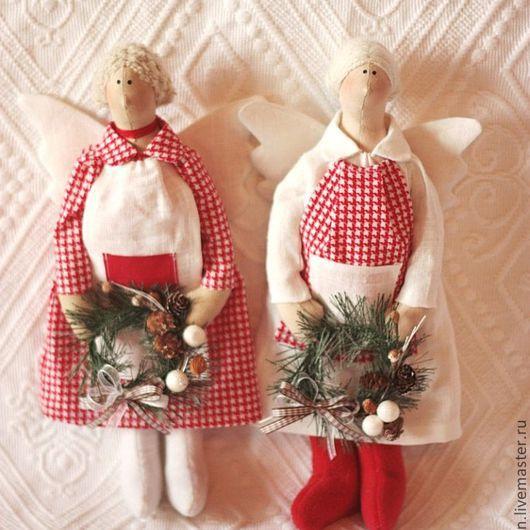 Куклы Тильды ручной работы. Ярмарка Мастеров - ручная работа. Купить Рождественский ангел. Handmade. Ярко-красный, рождественский подарок