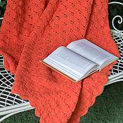 Для дома и интерьера ручной работы. Ярмарка Мастеров - ручная работа Вязаный крючком ажурный чистошерстяной оранжевый плед. Handmade.
