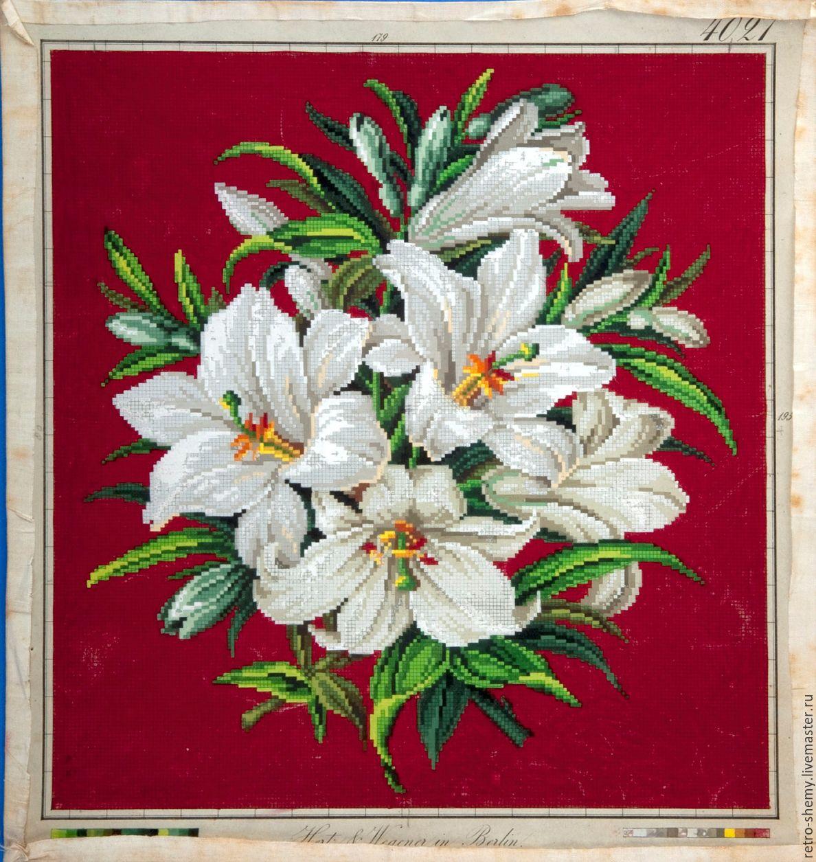Схема вышивки лилии белой