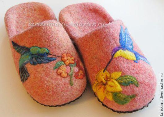 Обувь ручной работы. Ярмарка Мастеров - ручная работа. Купить Валянные тапки Колибри. Handmade. Оранжевый, апликация, кожа натуральная