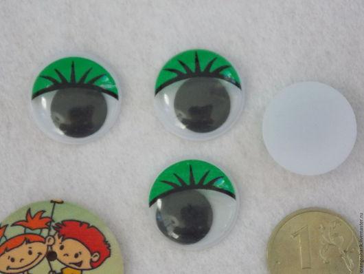 Куклы и игрушки ручной работы. Ярмарка Мастеров - ручная работа. Купить Глазки бегающие клеевые 20 мм зелёные. Handmade.