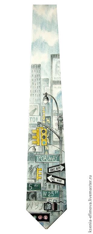 Галстуки, бабочки ручной работы. Ярмарка Мастеров - ручная работа. Купить Шелковый галстук с ручной росписью - Нью-Йорк. Handmade.