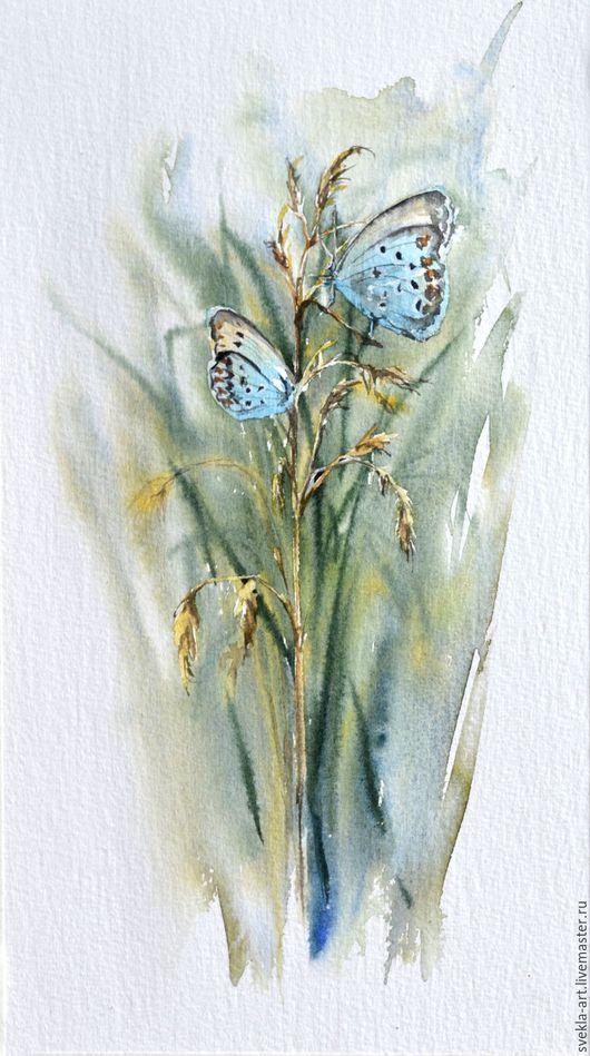 """Животные ручной работы. Ярмарка Мастеров - ручная работа. Купить Картина акварелью """"Голубые бабочки на травинке"""". Handmade. Комбинированный"""