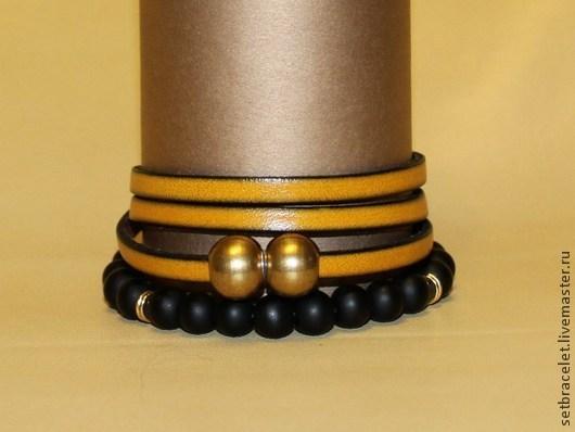 Браслеты ручной работы. Ярмарка Мастеров - ручная работа. Купить Кожаный браслет желтый. Handmade. Желтый, браслет из кожи