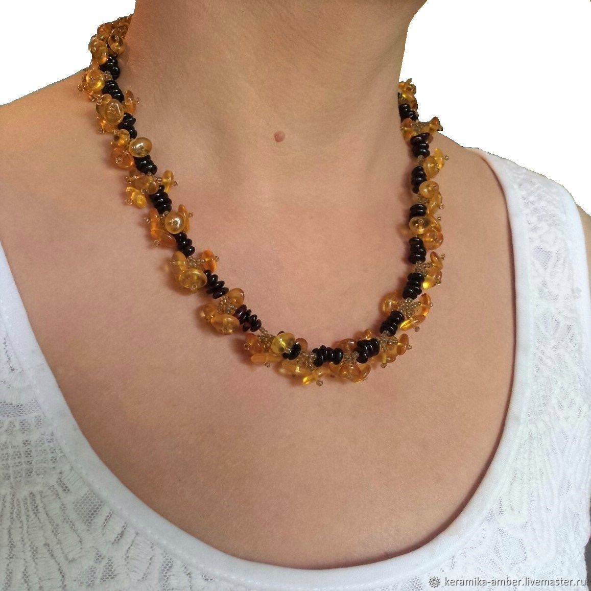 Beads amber choker Berries natural stone For women gift, Necklace, Kaliningrad,  Фото №1