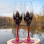 Посуда handmade. Livemaster - original item Pair of Red style champagne inserts garnet stones red style. Handmade.