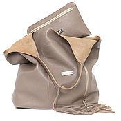 Сумки и аксессуары handmade. Livemaster - original item Bag Bag Package shopping Bag shopper large size with cosmetic bag Taup. Handmade.