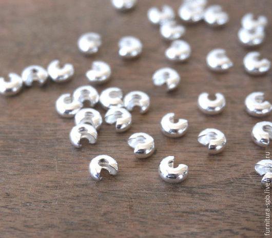 Для украшений ручной работы. Ярмарка Мастеров - ручная работа. Купить 10 шт. Обжимные бусины 5 мм - светлое серебро. Handmade.
