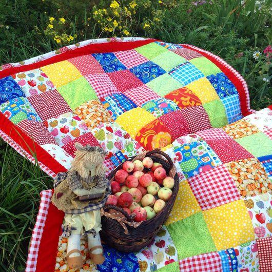 Текстиль, ковры ручной работы. Ярмарка Мастеров - ручная работа. Купить Яблочный спас. Handmade. Яблочки, одеяло лоскутное