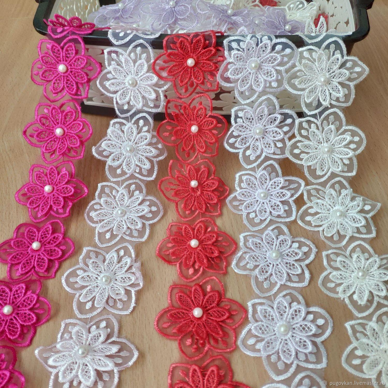 Цветочки 3D из органзы с бусинкой, Аппликации, Глазов,  Фото №1