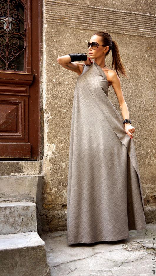 сарафан в пол длинное платье в пол стильное платье модное платье дизайнерское платье бежевый цвет бежевое платье