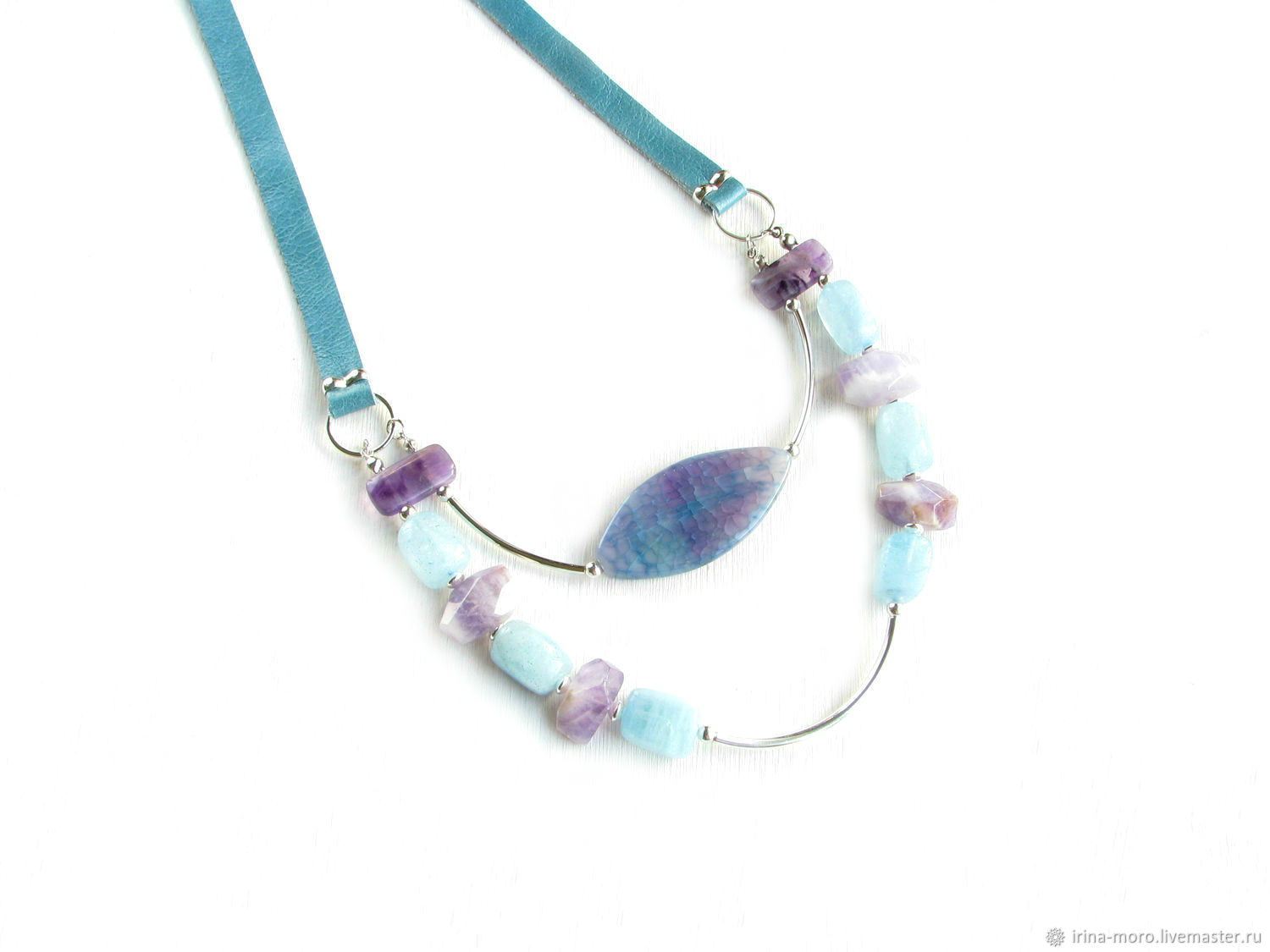 Stylish necklace with aquamarine, amethyst and agates, natural stones, Necklace, Moscow,  Фото №1