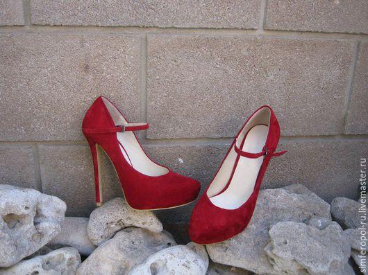 Обувь ручной работы. Ярмарка Мастеров - ручная работа. Купить женские туфли на платформе из замши цвета марсала. Handmade.