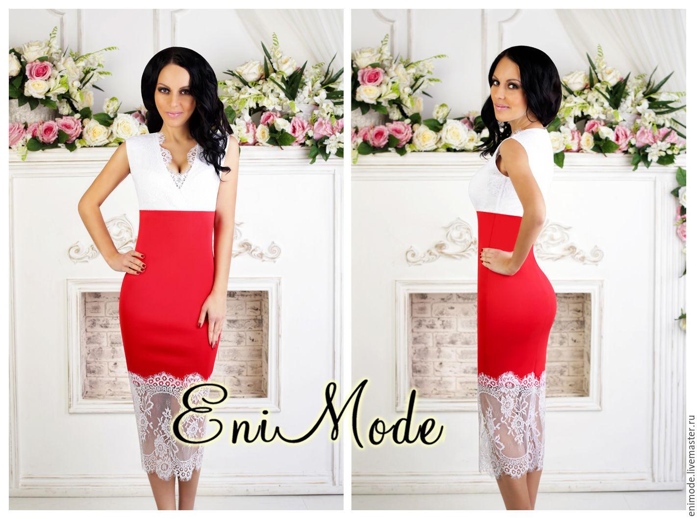 Белое кружево на красном платье