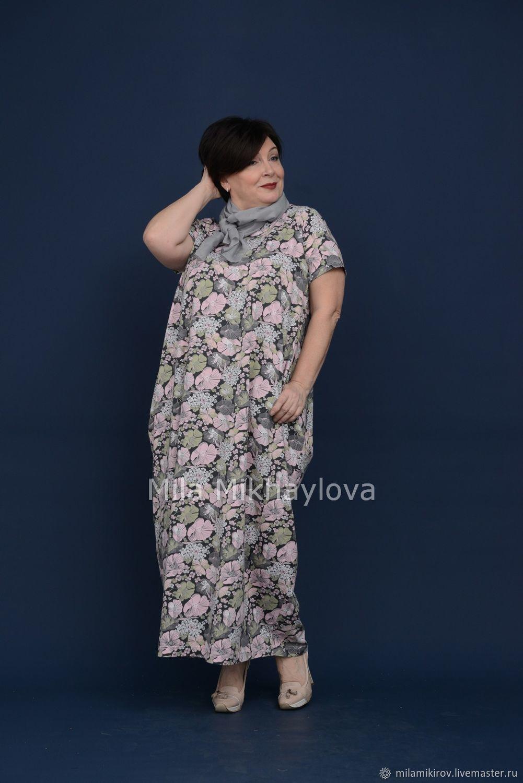 Short sleeve rhombus dress green-pink flowers. Art. 3426, Dresses, Kirov,  Фото №1
