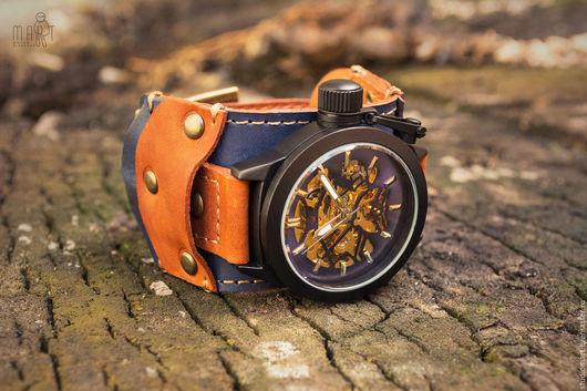 Часы наручные `Batiskaf` - оригинальная модель с объёмными деталями из натуральной кожи, выполненная в стиле стимпанк.