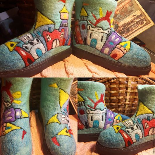 Обувь ручной работы. Ярмарка Мастеров - ручная работа. Купить Валенки ЗАМОК ДЛЯ ПРИНЦЕСЫ. Handmade. Мятный, Мокрое валяние