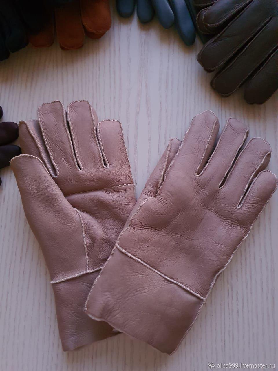 Кожаные перчатки из овчины мужские, кремовые, Перчатки, Москва,  Фото №1