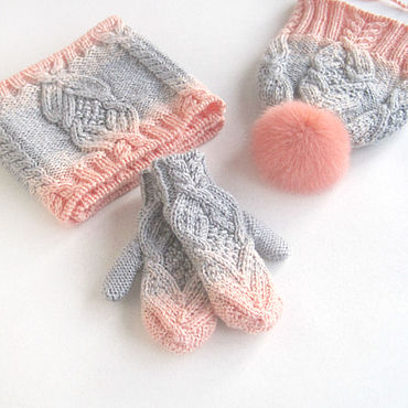 Works for children handmade. Livemaster - original item Baby hat, mittens and scarf Peachy coral grey. Handmade.