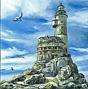 Картины и панно handmade. Livemaster - original item Lighthouse Bay, on. Sakhalin, Russia, oil painting. Handmade.