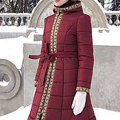 Одежда handmade. Livemaster - original item Burgundy coat with hood, warm winter coat, women`s long coat. Handmade.