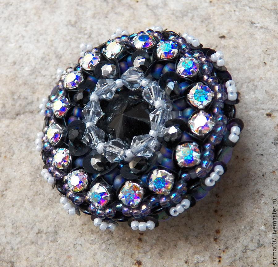 Brooch 'Black Iris' Japanese beads, Swarovski crystals, Brooches, Voronezh,  Фото №1