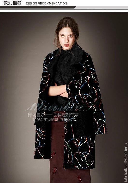 Шитье ручной работы. Ярмарка Мастеров - ручная работа. Купить Высококачественная шерстяная ткань, расшитая цветной нитью.. Handmade. черный