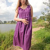 "Одежда handmade. Livemaster - original item Violet linen summer dress ""Peasant girl"". Handmade."