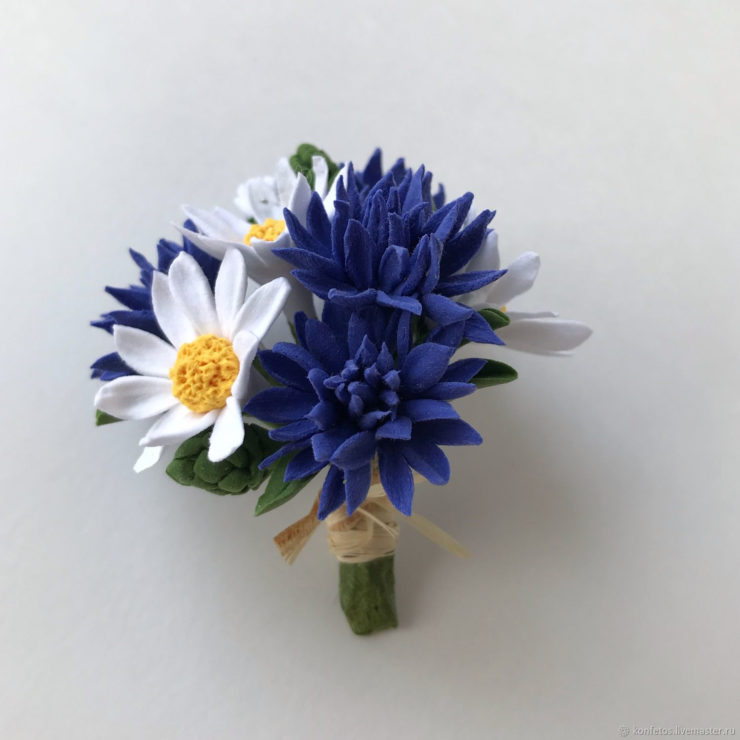 Brooch-boutonniere with cornflowers and daisies, Brooches, Voskresensk,  Фото №1