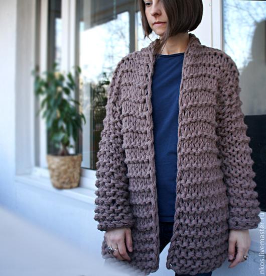 Пиджаки, жакеты ручной работы. Ярмарка Мастеров - ручная работа. Купить Кардиган крупной вязки. Handmade. Бежевый, бежевый жакет