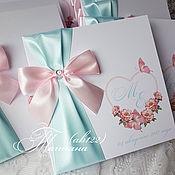 Свадебный салон ручной работы. Ярмарка Мастеров - ручная работа Свадебные приглашения розово-бирюзовые. Handmade.