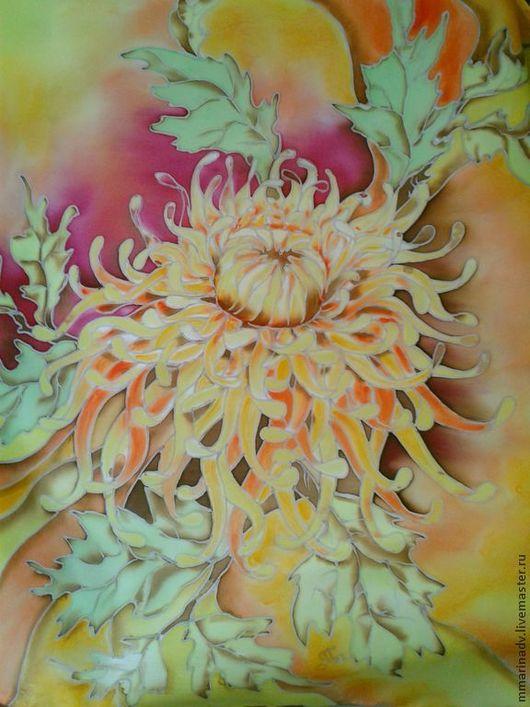 Шейный платочек `Южанка`, 50-50 см., шёлк атлас, холодный батик. Авторский батик Марины Маховской.