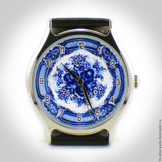 """Часы ручной работы. Ярмарка Мастеров - ручная работа. Купить Часы наручные  женские """"Гжель"""". Handmade. Часы, часы с картинкой"""