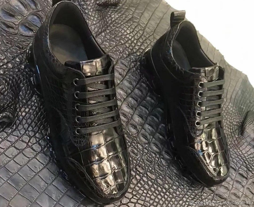 Crocodile leather sneakers, unisex, in black, Sneakers, Tosno,  Фото №1