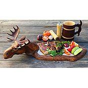Посуда handmade. Livemaster - original item Wooden Board for serving steak Elk dish for serving barbecue. Handmade.