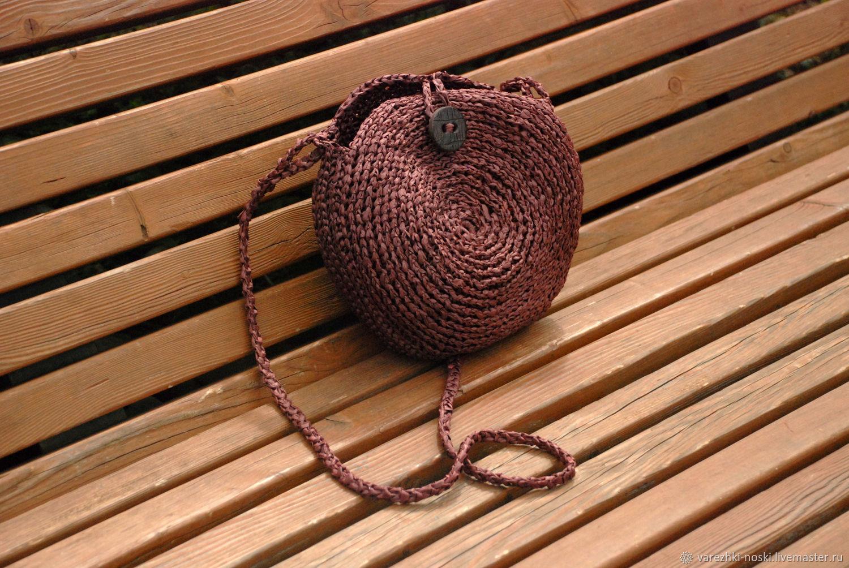 Bag of raffia dark Chocolate round braided, Classic Bag, Moscow,  Фото №1